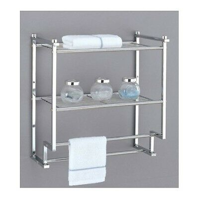 Double Towel Bar Wall Mount Bathroom Chrome Rack Shelves Holder Bath Drying Deco
