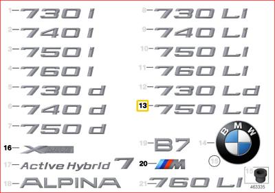 Genuine BMW F10N Sedan Trunk Lid 518d Emblem Badge Logo Sign OEM 51147329735