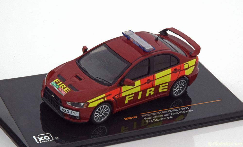 MITSUBISHI LANCER EVO X FIRE DEPARTEMENT 2011 HUMBERSIDE & WEST MIDLANDS IXO MOC
