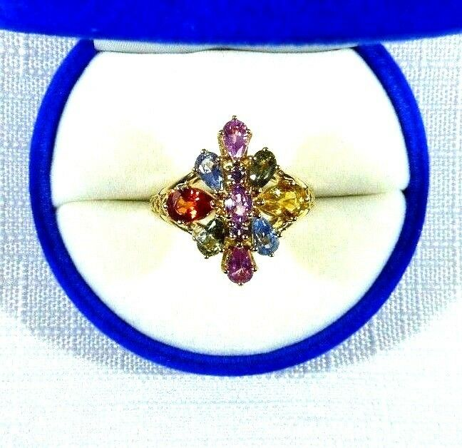 1,500 2.10 ct Natural Multicolour Sapphire 10K Solid Yellow gold Cluster Ring