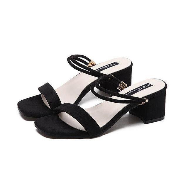 holzschuhe hausschuhe 7 cm elegant schwarz absatz quadrat sandalen simil leder