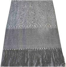 Plata y Negro patrón de Paisley Chal Pashmina Bufanda Envolvente Estola CJ Apparel * Nuevo *