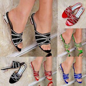 Mujer-senoras-Slip-on-Flat-Diamante-deslizadores-brillante-mulas-Vacaciones-Comodidad-Zapatos