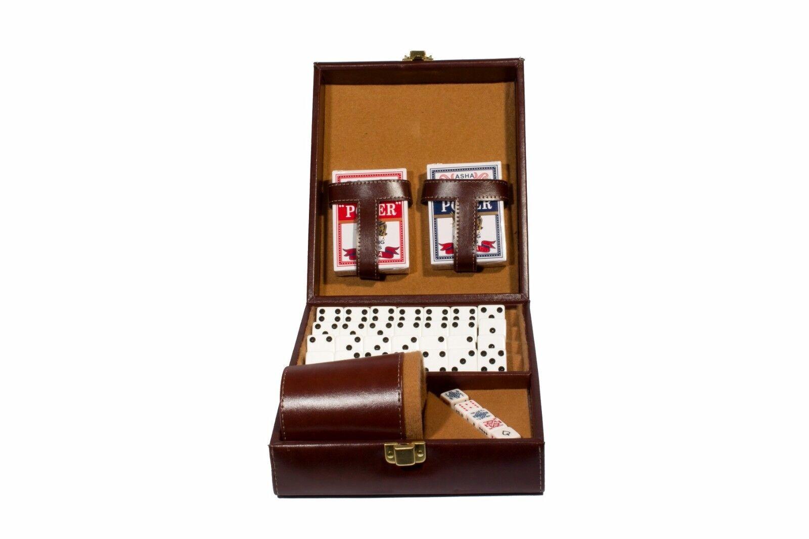 Deluxe Set 3 Juegos  Domino, dados Cup, 2 Tarjetas de Póquer Beige.