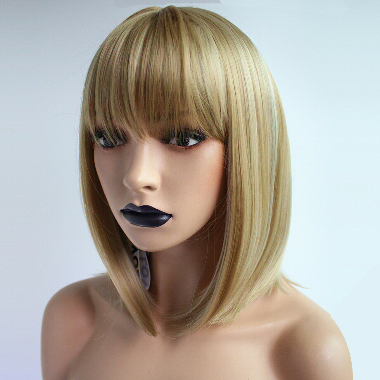 Blonde Wig Synthetic Hair With Women Bangs Blonde Short Straight Bob Ombre  Wigs | eBay