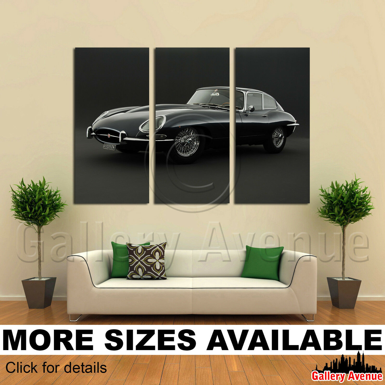 3 Panel Canvas Bild Drucken - E Type Jaguar Retro Sports Car 3.2