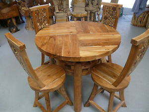 details about teak dining table with chairs outdoor indoor