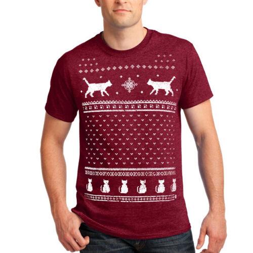 Homme Noël Chat Fair Isle T-Shirt-alternative à la Noël Pull
