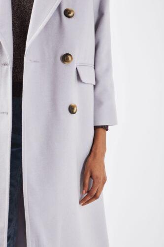 poches Taille clair violet long avec double 6 Long gris boutonnage manteau Topshop aqYzxvpa