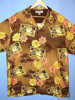 Tommy Bahama Vintage Island Postcards, Flowers Silk Hawaiian Aloha Camp Shirt XL