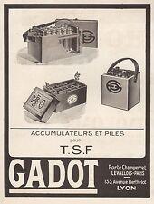 Publicité TSF Poste Radio GADOT accumulateur  photo vintage print ad  1923 - 2h