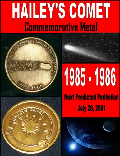 1986 Halley's Comet Commemorative Bronze Medal 1985-1986 Highly Collectible Coin