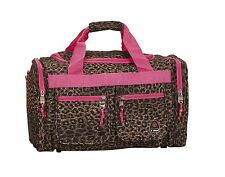 Rockland Luggage 19 Inch Tote Bag Pink Leopard Suitcase Duffle Travel Carry on