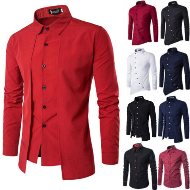 Fashion Luxury Men Slim Fit Shirt Casual Long Sleeve Work Formal Dress Shirt Top