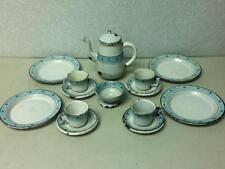 Antique, Rare, White-Blue Enamelware, 15-pc Child's Tea Set