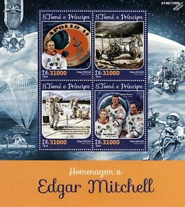 Nasa Astronaute Edgar Mitchell Apollo 14 Moon Landing Space Stamp Sheet #1 (2016)-afficher Le Titre D'origine