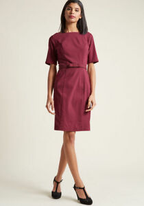 New-Modcloth-Ritzy-Wishes-Sheath-Dress-Sz-S-in-Burgundy-with-Bow-Accented-Belt