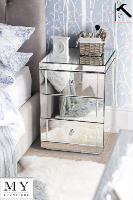 Toughened Mirrored Bedside Table 3 Drawers With Plinth Lucia