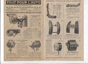 N°10351 / Dépliant Accessoires Pour Motocyclette 1927 Phares,montres,selles... Diueqm2s-07221424-532103595