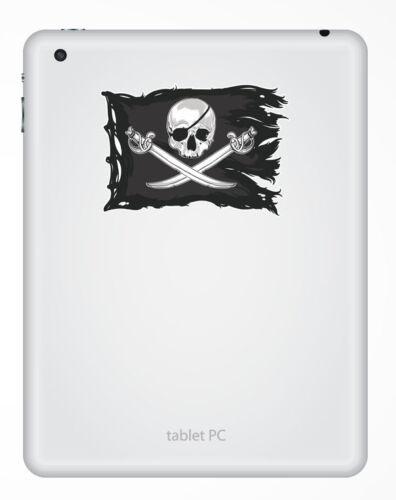 2 x 15cm Jolly Roger Skull Vinyl Stickers Crossbones Laptop Pirate Flag #6622