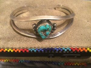 Vintage Navajo Old Pawn Sterling Silver and Turquoise Nugget Cuff Bracelet