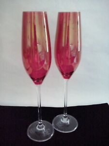 Pair Rona Red Crystal Champagne Flutes