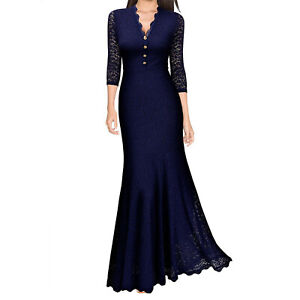 bb64916cfc Image is loading Women-Maxi-Fishtail-Dress-Lace-Long-Formal-Cocktail-
