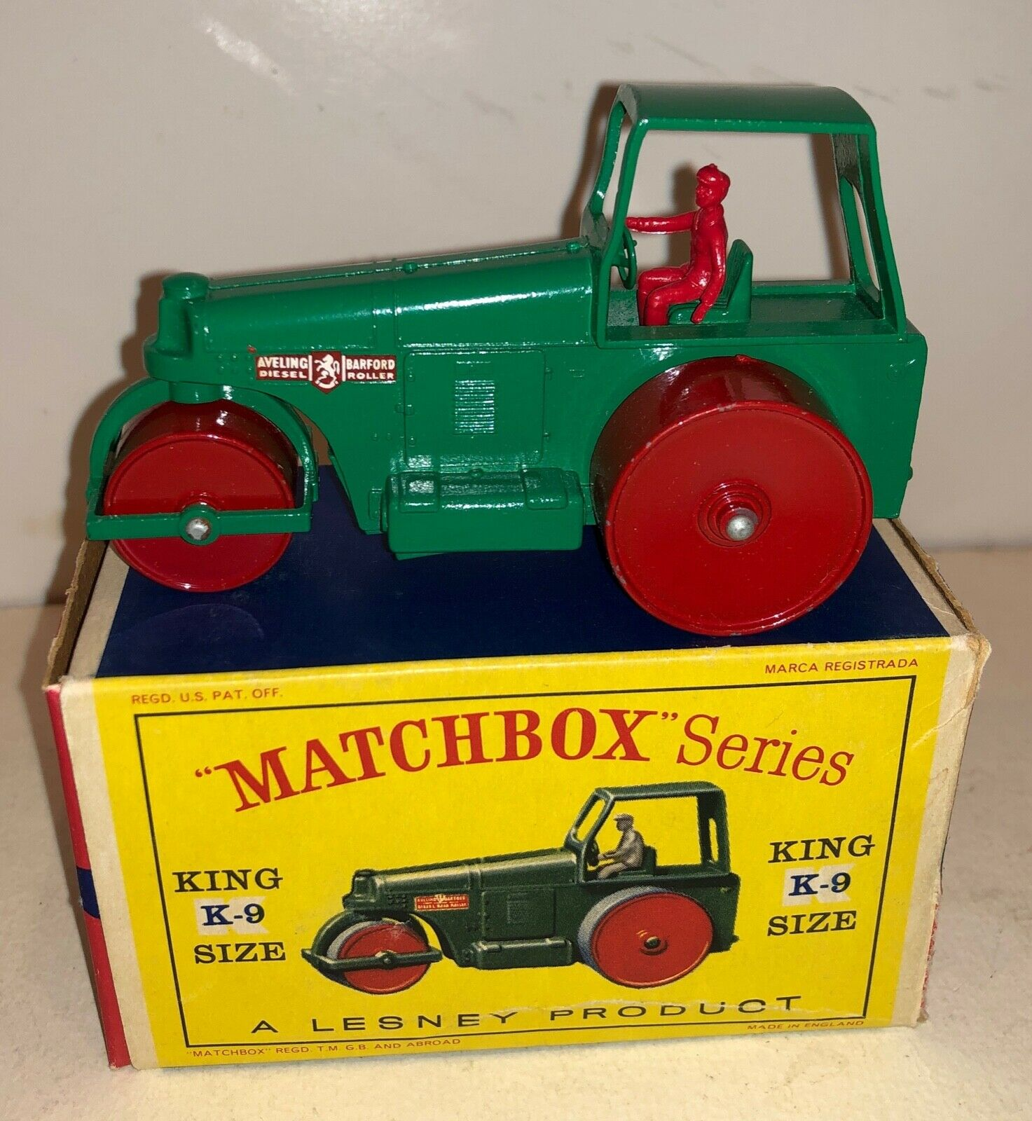 Matchbox King Size K-9 Aveling-Barford Road Roller-Near Mint in Box