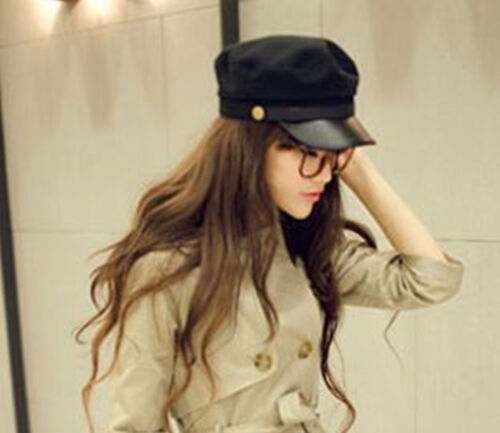 Women men Synthetic leather brim Military Army Cadget Flat Head Bucket Hat Cap