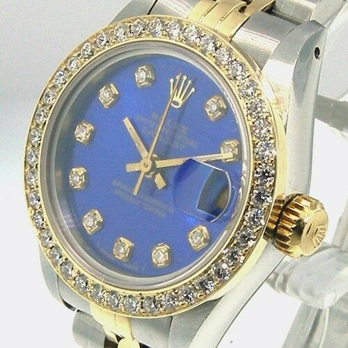 ROLEX DATEJUST 18K YELLOW GOLD STEEL JUBILEE LADIES BLUE DIAL DIAMOND BEZEL