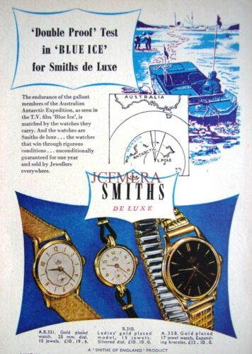 Original Art Print AD 1950s Smith/'s /'De Luxe/' Wristwatches ADVERT #1
