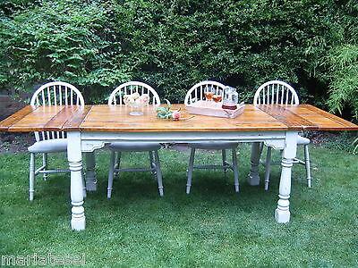 Large Shabby Chic Rustic Farmhouse HARDWOOD Kitchen Dining Table EXTENDING 8.5ft
