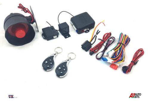 UNIVERSAL CAR SECURITY ALARM SYSTEM  CENTRAL LOCKING SHOCK SENSOR 2 CHROME FOBS