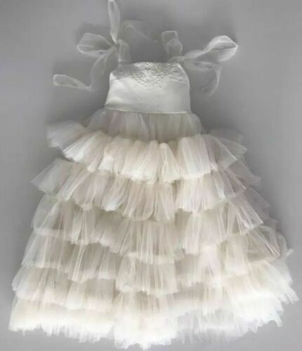 Ivory Flower Girl Dress Ruffles Tulle Long Princess Pageant Formal Gowns For Kid