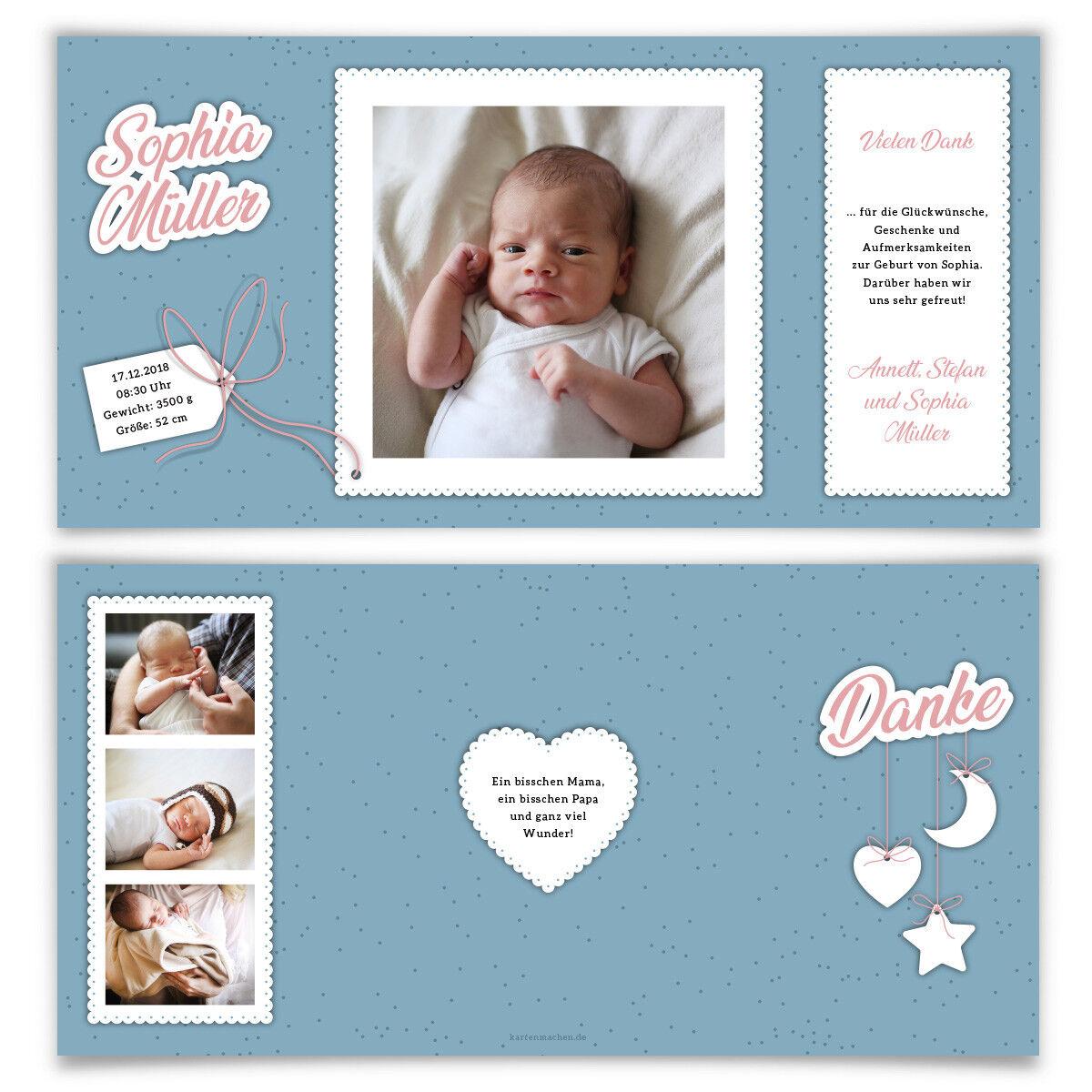 Geburtskarten Babykarten Dankeskarten Geburt Mädchen Junge Junge Junge Sonne Mond und Sterne a248fd