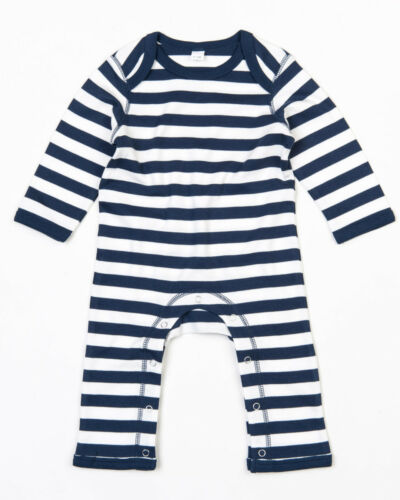 BABY STRIPY ROMPASUIT BODYSUIT LONG SLEEVE 100/% SOFT COTTON COMFROT BOYS GIRLS