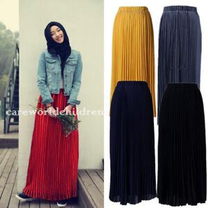 3d92f8059 Girls Chiffon High Waist Pleated Skirt Muslim Women Long Maxi Robe ...