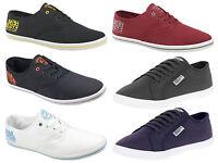 New Mens Henleys Crosshatch Lace Up Logo Canvas Shoe Pumps Trainers Plimsolls