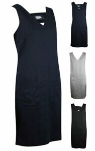 Womens-Ladies-Navy-BLACK-WHITE-Sleeveless-V-Neck-Loose-Fit-Linen-SHIFT-Dress