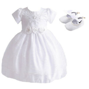 Details About Baby Girl Dress Christening Party Dress And Shoes 0 3 To 12 18 Months Show Original Title