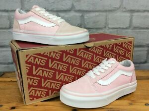 VANS-OLD-SKOOL-PINK-WHITE-TRAINERS-VARIOUS-SIZES-GIRLS-CHILDRENS-T
