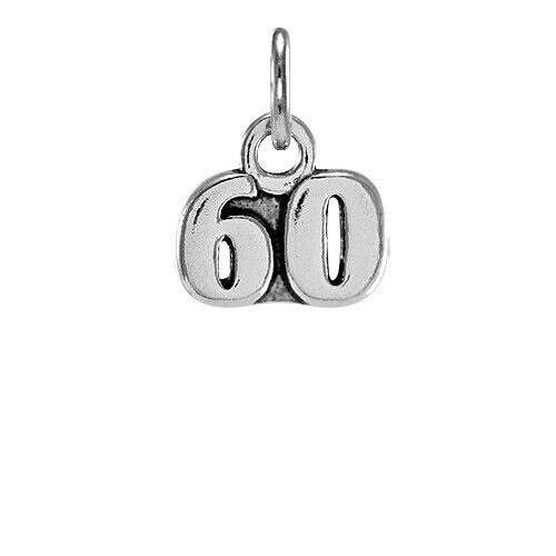 60th 925 Sterling Silver Birthday Number Charms 20th
