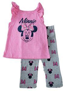 Disney Ninas Minnie Mouse Brillo Rosa Arco Camiseta Sin Mangas Pantalones Conjunto De 2 Piezas Ebay