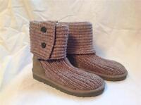 Ugg Australia Cardy Girls Sweater Boot Grey Size 10 In Box