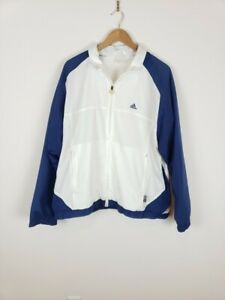 ADIDAS-Mens-L-White-and-Blue-Climaproof-Track-Jacket-Windbreaker