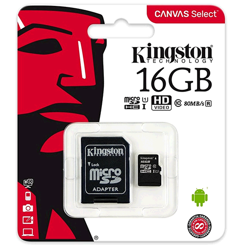 KINGSTON MEMORIA MICRO-SDHC 16GB CLASSE 10 HC I 80MB/s R. CON ADATTATORE SD