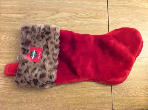 """Leopard Print and Red December Home Christmas Stocking Approx 18/"""" New"""