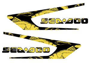 GRAPHIC REPLACEMENT KIT DECAL SPORTSTER SEA DOO SPEEDSTER 150 Yellow FISH