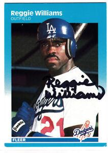 Reggie Williams 1984 Fleer Los Angeles Dodgers SIGNED CARD AUTOGRAPHED
