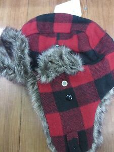 01d72a0df8d Buffalo Check Plaid Trapper Hat Men s Faded Glory Red Black Unisex ...